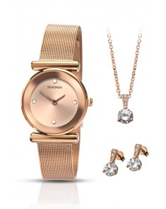 SEKONDA - Set Montre et Bijoux Rose Gold