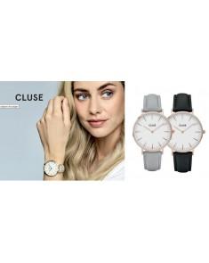 CLUSE La Bohème Or Rose Blanc/Gris + Bracelet Noir GRATUIT