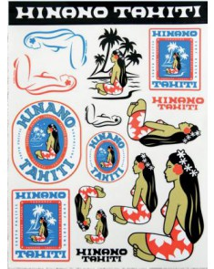 Stickers Kit with Hinano Tahiti designs.